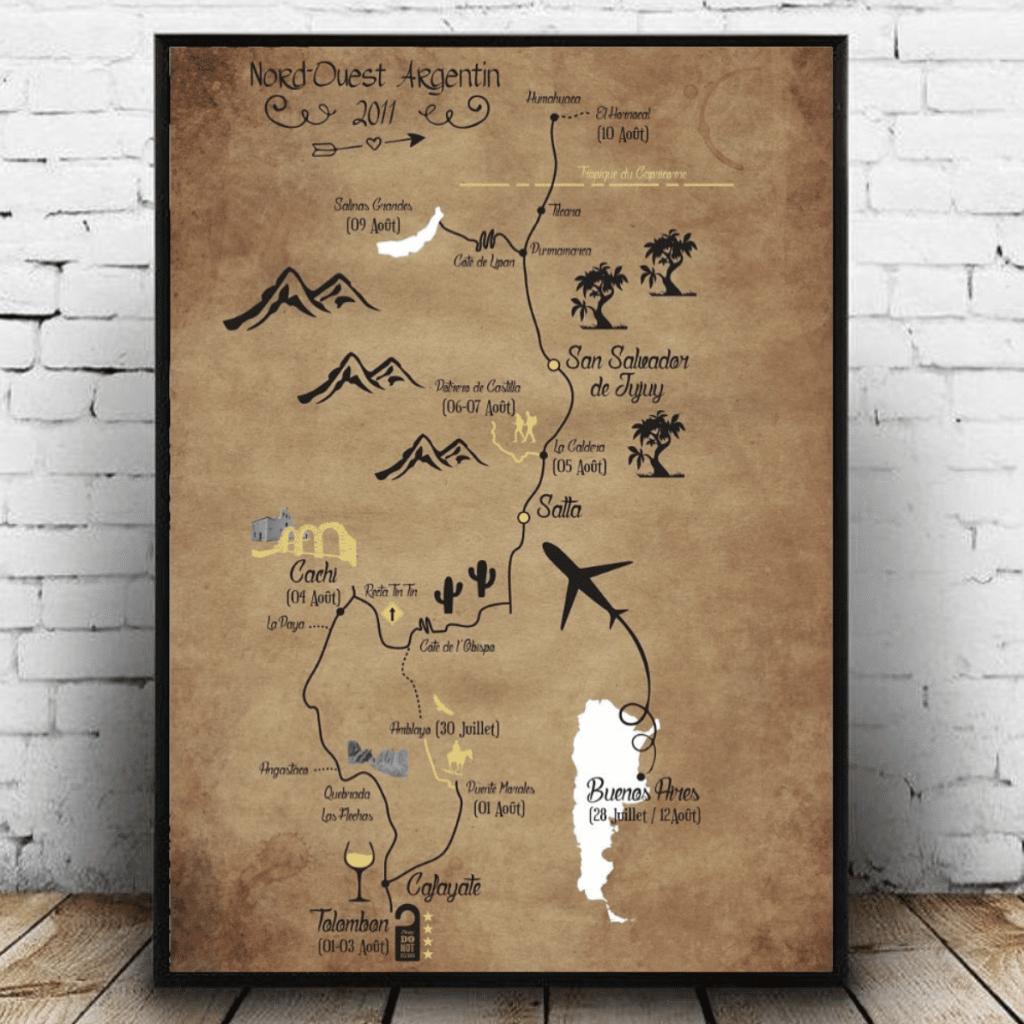 Carte de voyage personnalisée Argentine