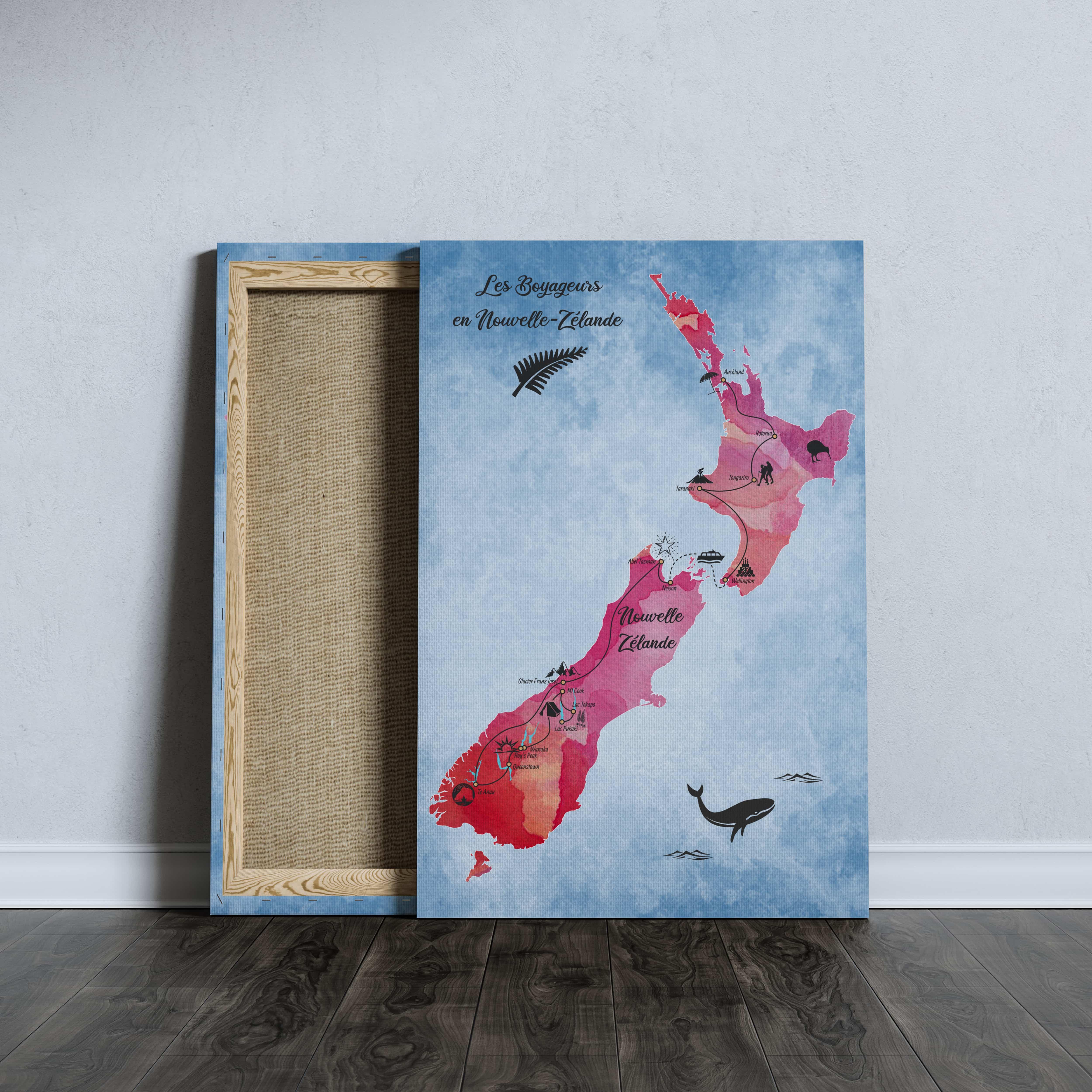 Carte de voyage personnalisée Nouvelle Zélande